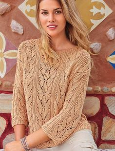 Pullover with lace diamonds free pattern Summer Knitting, Free Knitting, Lace Knitting Patterns, Lace Tops, Crochet Clothes, Crochet Lace, Knitwear, Sweaters, Russian Online