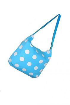 Canvas tote bag turqouise polka dots shoulder bag by Monalinebags, $35.00