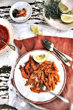 Plates and Platters: Penne with shrimp and chili sauce