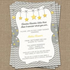 Twinkle, Twinkle Little Star baby shower invite, yellow and gray, how i wonder what you are, Gender Neutral digital, printable file by freshlysqueezedcards on Etsy https://www.etsy.com/listing/151923432/twinkle-twinkle-little-star-baby-shower