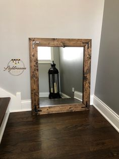 Dark wood framed bathroom mirrors farmhouse mirror dark wood frame mirror rustic wood mirror home decor Wood Framed Bathroom Mirrors, Mirror Wall Collage, Wall Mirrors Entryway, Big Wall Mirrors, Black Wall Mirror, Rustic Wall Mirrors, Living Room Mirrors, Wood Mirror, Round Wall Mirror