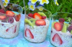 Fresh and Fruity Summer Porridge (Bircher Muesli) - The Family Cooks & The Family Dinner by Laurie David Breakfast Items, Make Ahead Breakfast, Breakfast Recipes, Summer Porridge, Laurie David, Bircher Muesli, Great Recipes, Favorite Recipes, Trifle Pudding