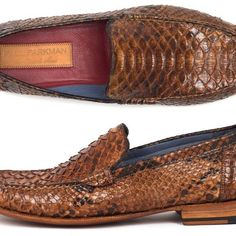 Paul Parkman's Brown Genuine Python Moccasins