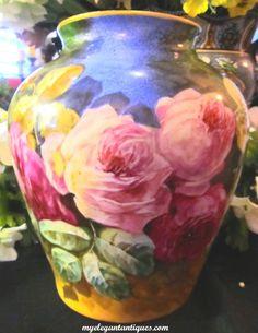 Large Jean Pouyat Limoges JPL Studios Vintage French Porcelain Vase Hand Painted Roses Artist Signed