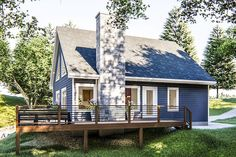Small Lake Cabins, Small Lake Houses, House Plan With Loft, Small House Plans, Cabin Plans With Loft, A Frame Cabin Plans, Cabin House Plans, Waterfront Cottage, Waterfront Homes