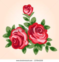 vector illustration of red roses in retro style