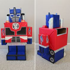 Transformers Optimus Prime Valentine's Box. Valentine Boxes For School, Valentines For Boys, Valentines Day Treats, Valentine Day Crafts, Valentine Ideas, Valentines Card Holder, Diy Valentine's Box, Transformer Birthday, Transformers Optimus