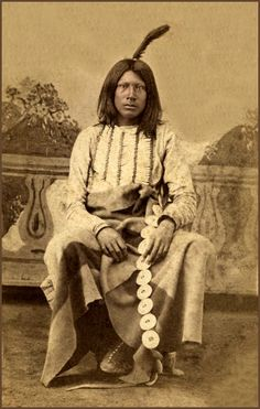 """Ton-ka-wa man """"Wild Cat"""". Photographed by: Henry S. Shuster, ca. 1865-72. Part of Lawrence T. Jones III Texas Photography Collection. Series 2: Cartes de Visite."""