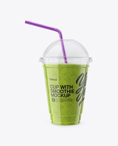 Green Smoothie Cup with Straw Mockup. Present your work with this mockup of a green smoothie cup with a straw. Smoothie Cup, Clear Plastic Containers, Phone Mockup, Cup With Straw, How To Make Logo, Bottle Mockup, Business Card Mock Up, Ipad, Macbook