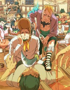 At a bar~ Marco and Thatch One Piece