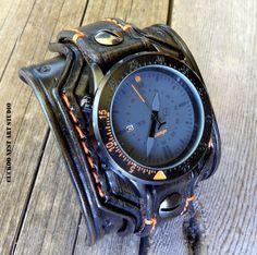 Chocolate brown leather watch, Men's watch cuff, Bracelet watch, Leather cuff watch, Anniversary gift, Leather gift, Wrist watch,