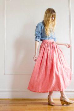 denim shirt with pink skirt