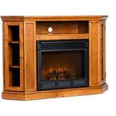 Silverado Electric Fireplace Media Console, Glazed Pine