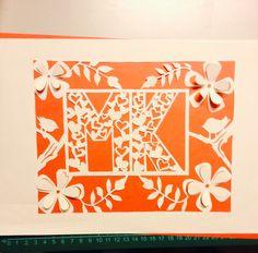 Beautiful papercut monogram