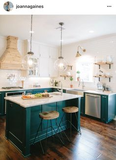 From musty to must see kitchen pinterest beach cottage kitchens the kitchen in last weeks fixer upper was one of our favorites the white subway tile creates a neutral backdrop for the teal color lower cabinets and is solutioingenieria Image collections