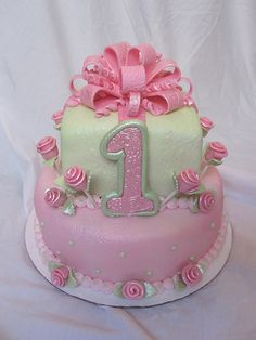 1st first birthday cake girl