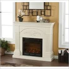 Colonial in inspiration and design, the Southern Enterprises Calvert Ivory Electric Fireplace showcases fluted columns that support the strong mantelpiece,. Gel Fireplace, Fireplace Mantels, Fireplace Ideas, Mantle Ideas, Fireplace Design, Mantels Decor, 1930s Fireplace, Craftsman Fireplace, Fireplace Bookshelves