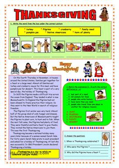 Thanksgiving - short history & vocabulary