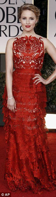 Dianna Agron at the Golden Globes - Red Dress by Giles