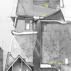 'A Tactic of Survival' by Andy Lin // Collaging through layer after layer of mylar, Andy Lin uses his drawing method to develop a hybrid architectural genus. Detroit is again a playground for architectural form. For Lin, the juxtaposition of architec