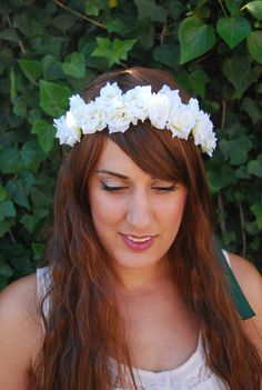 White Small Rose Flower Wreath White Flower Crown by NebulaXcrafts, $30.00