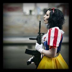 Snow White with gun.