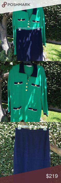 """ST JOHN  Knits L/16 2 Piece Suit Santana Knit St John 2 piece suit . Pullover sweater is size L , Kelly Green with some blue. Sleeves 23"""", chest 24"""", hips 25"""", length 34.  Drop shoulder style. Skirt is size 16 navy blue. Waist has 1"""" wide stretching band, hips 22, waist 17"""", length 27"""". This knit can be easily blocked few sizes up or down for size. OBO! St. John Skirts Pencil"""