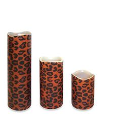 NorthLight Leopard Print Battery Operated Flameless LED Lighted Flickering Wax Pillar Candle With Remote, Set Of 3 Flameless Candles With Remote, Votive Candles, Flickering Candle, Market Umbrella, Battery Operated, Wax, 3 Piece, Products