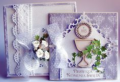 Dorota_mk: komunia Quilling, First Communion Cards, Communion Invitations, Cute Cards, Anniversary Cards, Vintage Cards, Projects To Try, Card Making, Gift Wrapping