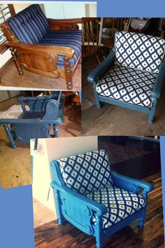 DIY chalk paint  mid century chair makeover using Sherwin Williams Temple Star as an ASCP Aubusson Blue substitute. Added a little vanilla acrylic paint in with the Johnson's paste wax to mute the blue a little bit. Fabric found in the $5 flat fold table.