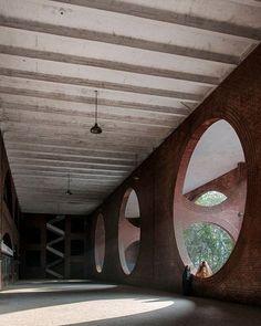 Shaheed Suhrawardy hospital, Louis Kahn, Dhaka, Bangladesh.⠀ #architecture #art #design #geometry #pattern #artist #nature #masonry #bricks #light #Bangladesh #dhaka #louiskahn