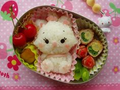 """Think this is supposed to be """"Marie"""" from Disney's, """"The Aristocats"""". Kawaii Bento, Cute Bento Boxes, Bento Box Lunch, Bento Kids, Japanese Lunch Box, Bento Recipes, Disney Food, Perfect Food, Cute Food"""