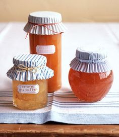 Cupcake liners as jar covers. Why didn't I think of that?! Great tip for homemade gifts, jams, jelly etc.