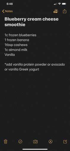 Frozen Blueberries, Frozen Banana, Smoothies With Almond Milk, Best Smoothie Recipes, Vanilla Greek Yogurt, Vanilla Protein Powder, Blueberry, Avocado, Cream