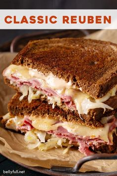 Classic Reuben Sandwich - There's just nothing quite like a classic Reuben sandwich! Enjoyed all year round, but especially - Deli Sandwiches, Salami Sandwich, Sandwich Reuben, Dinner Sandwiches, Healthy Sandwiches, Delicious Sandwiches, Baked Reuben Sandwich Recipe, Reuben Recipe, Chicken Sandwich