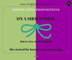 Improve your vocabulary and learn new idioms! English Phrases, English Idioms, English Words, English Lessons, English Vocabulary, English Grammar, Improve Your Vocabulary, Perfect English, Prepositions