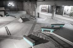 Skatepark Design and Construction - California Skateparks Halle, California Skateparks, Berlin, Nike Sb, Floor Design, Shelter, Dining Table, Indoor, Interior Design
