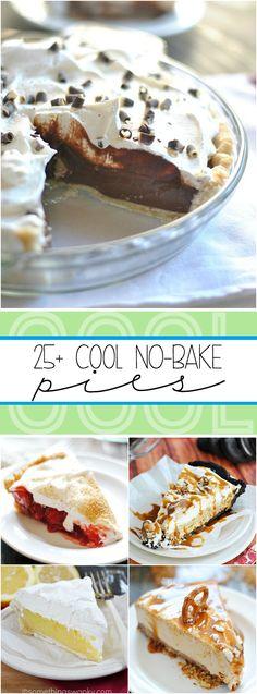 Over 25 recipes for No Bake Pies including Homemade Chocolate Cream, Lemon Marshmallow Meringue, and Strawberry Cream! No Bake Desserts, Easy Desserts, Dessert Recipes, Jello Recipes, Dessert Ideas, Awesome Desserts, Baking Desserts, Dessert Simple, No Bake Pies