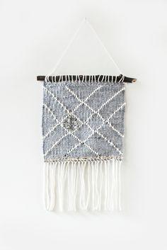 Hello Hydrangea Grey Lined Woven Wall Hanging