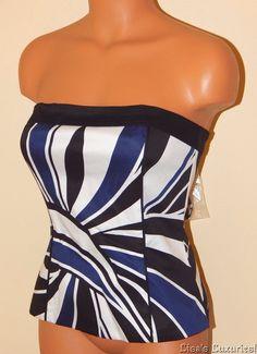 NWT Women's 2 White House Black Market Strap/Strapless Top W/Boning Swirl $88 #WhiteHouseBlackMarket #Blouse #Clubwear