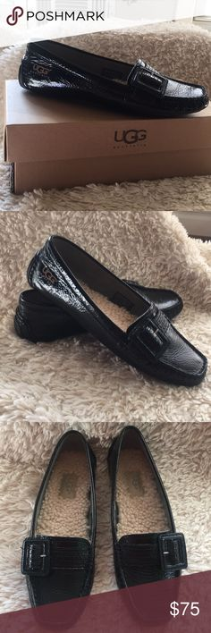 """NWT Black UGG Sherpa Lined  Moccasin/Loafer New with box, UGG """"Retreat"""" driving Moccasin/ Loafer. Black Patent Leather with Sherpa Footbed. Never Worn. Smoke free home UGG Shoes"""