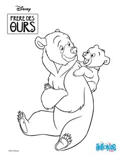 Coloring page of the Disney movie Brother Bear. Color this cute drawing of Kenai and Koda. More content on hellokids.com