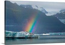 Rainbow over iceberg on Alsek Lake Glacier Bay National Park St.Elias Mountains