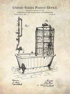 This is a Patent Print for a Bath Tub. It was invented by John Reid and it was issued on June 1890 by the United States Patent and Trademark Office.