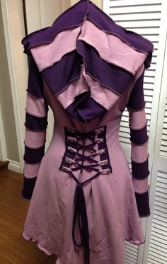 Purple Cheshire Cat corset laced festival by FayeTalityCouture