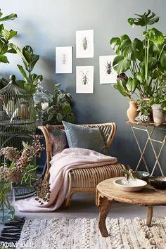 Sisusta boheemisti kasveilla - katso kuvat ja poimi vinkit! Trendikäs boho botanical -tyyli syntyy tummista kukkakuviosta, rehevistä viherkasveista ja vihreänharmaista seinistä.