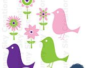 Flower Bird - Digital Clip Art Clipart Embellishments for Scrapbooking Cards Stationery Paper Products, Personal and Commercial Use c052