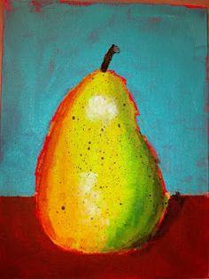 Angela Anderson Art Blog: Pear Paintings - Kids Art Class.  Has a video tutorial