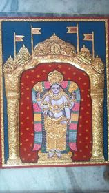 Tanjore /Thanjavur Paintings inch) without frame This is the Darbar Vishnu Painting size inch Tanjore Painting, Lord Vishnu, Goddesses, Paintings, Traditional, Design, Paint, Painting Art