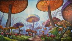 Mystical Mushroom Patch Mural by PaintingsbyLeslie on Etsy, $2200.00